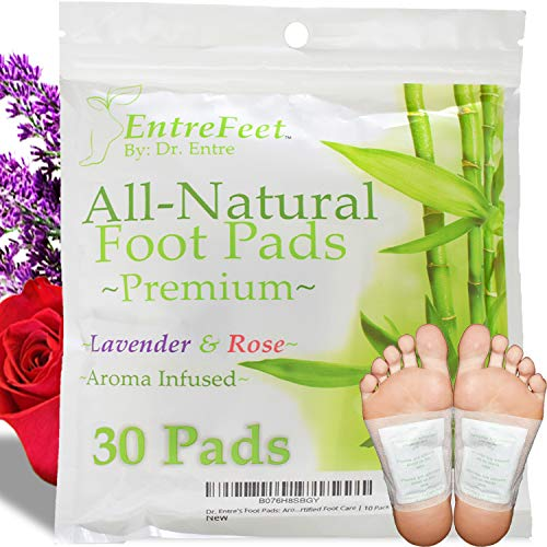 Dr. Entre's Foot Pads: Organic All Natural Formula for Impurity Removal, Pain Relief, Sleep Aid, Relaxation   Aroma Infused 30 Pack Free Foot Care E-Book Included