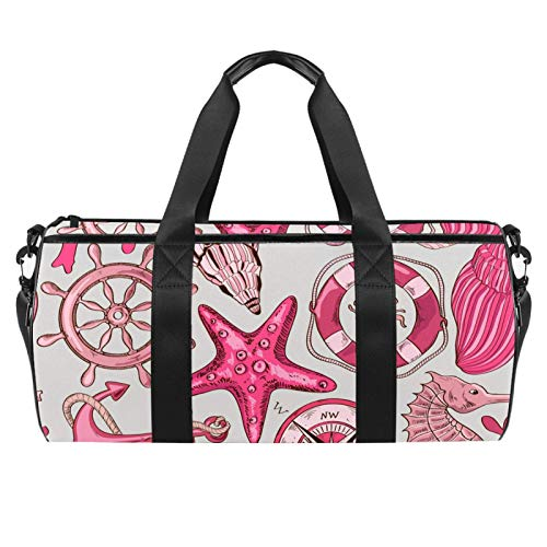 Pink Sea Wheel Anchor Starfish Pattern Sports Gym Bag Cylindrical Travel Duffel bag with Wet Pocket Lightweight workout bag Travel with Shoulder Strap for men women