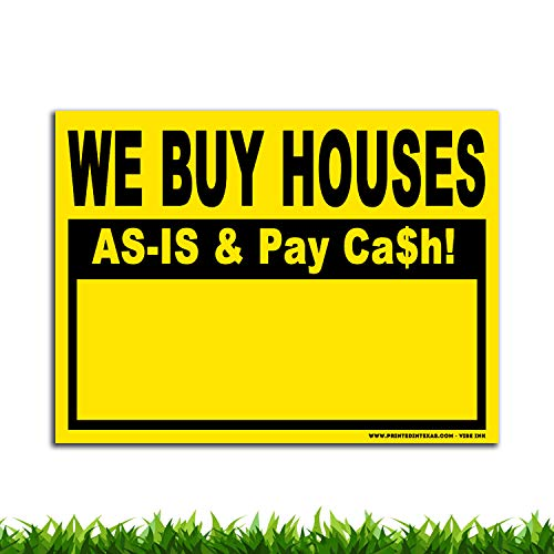 VIBE INK We Buy Houses AS-is & Pay Cash - 24x18 Large - 50(Fifty) Bandit Signs for Real Estate Investing - Plastic, Single-Sided Print - Waterproof, Vertical Flutes, Made in America! (Yellow)