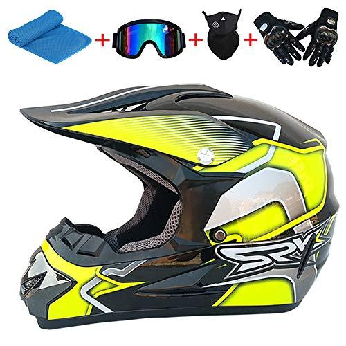 AKBOY Mopedhelm Mountainbikes Motocross Helm Kinder Fahrradhelme Jungen Unisex Dirt Bike Enduro Integralhelme Adult MX Offroad Dirt Bike mit Handschuhe Brille Handtuch Maske, Hell Gelb Schwarz,XL