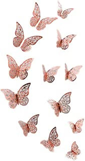 Gijoki 12Pcs Creative 3D Hollow Out Butterfly Party Rose Gold Wall Sticker Wall Stickers