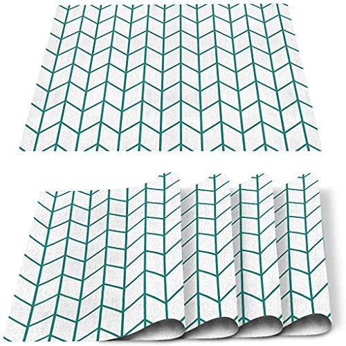 Store Sets de Table Lot de 4, Teal Plaid Abstrait géométrique PVC Tapis de Table résistant à la Chaleur Tapis de Cuisine Lavable antidérapant pour Table à Manger Table de Banquet de Vacances Décor-B
