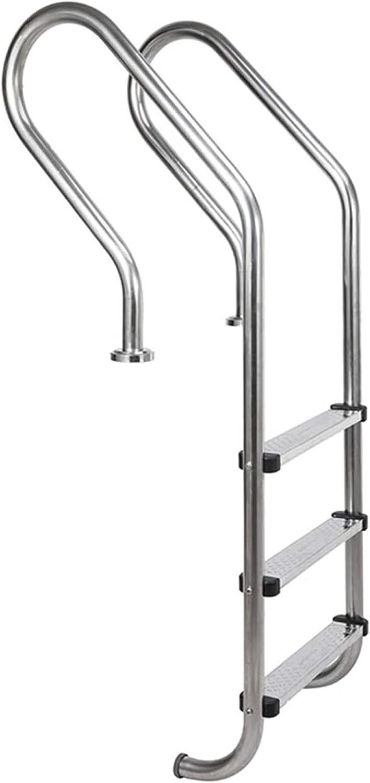 HHXD Escalera Piscinas Con Peldaños Antideslizantes,Pool Escalera de Seguridad Para Piscinas Cubiertas y al Aire Libre,Seguro y Estable/Silver / W59.2cm*H155cm