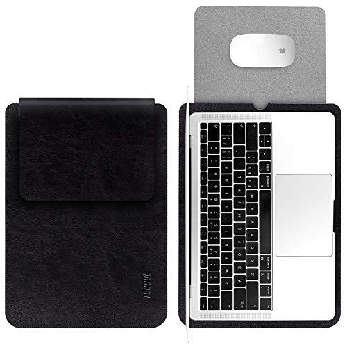 TECOOL Laptop Hülle 13,3 Zoll Tasche, Wasserdicht Laptop Sleeve Kunstleder Schutzhülle Hülle für MacBook Air 13/MacBook Pro 13, Microsoft Surface Laptop 1 2 3, MateBook D 14, Dell XPS 13 - Schwarz