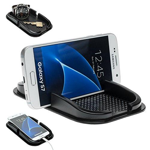 MOBILEFOX KFZ Anti-Rutsch Matte Handy Halterung für Samsung Galaxy S21 S20 S20+ Ultra S10 S10+ S10e S9 S8 S7 S6 S5 S4 A3 A5 A7 Mini Edge Note Schwarz