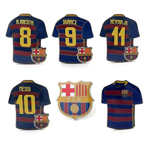 Barcelona - Player Jerseys & Crest Pin Set (6 Pieces) - Includes Iniesta, Suarez, Messi, Neymar, Home Jersey & Team Crest Pin