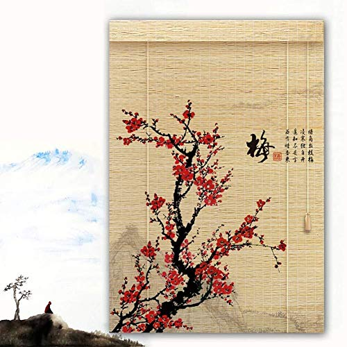 Bamboe Rolgordijn Rolgordijn Bamboe Vouwgordijn Rolgordijnen Rolgordijnen Houten Rolgordijn - Pretentieloos Rood Pruimenprint Oprolbaar Zonnescherm Schaduw Multi Breed (Kleur: B,Maat: 120X200CM)