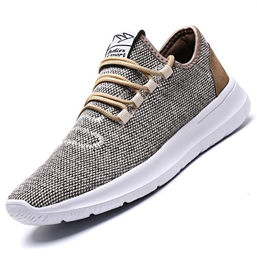 KEEZMZ Men's Running Shoes Fashion Breathable Sneakers Mesh Soft Sole Casual Athletic Lightweight (8, Beige)