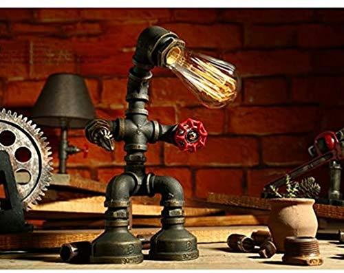 Tafellamp, waterleidingen van smeedijzer, vintage-design, dimbaar, voor slaapkamer, woonkamer, bedlampje, handgemaakt, E27