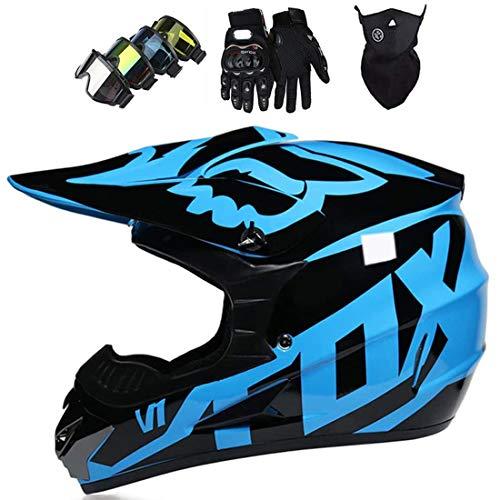 Casco integral MTB, Casco de motocicleta de motocross para adultos Conjunto de casco cruzado de motocicleta todoterreno unisex (guantes + gafas + máscara) con diseño de FOX