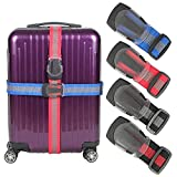 Luggage Straps Suitcase Belt TSA Approved With Adjustable Quick-release Buckle,Nonslip Travel Straps For Luggage, 4-Pack (Multicolor)