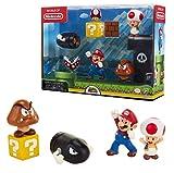 Nintendo Set di Personaggi Super Mario World of Jakks Pacific con 5 Pezzi Inclusi e 4 Figu...