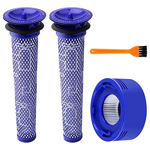 BluePower Filtros de Repuesto Lavables para Dyson Aspiradora Inalámbrica V7 V8 Animal y Absolute,2 Pre y 1 Post Filtros de Accesorios,Compatible con Aspiradoras Dyson v6 v7 v8 de Mano (con un Cepillo)