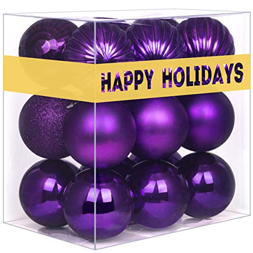 """GameXcel 36Pcs Christmas Balls Ornaments for Xmas Tree - Shatterproof Christmas Tree Decorations Large Hanging Ball Purple 2.5"""" x 36 Pack"""