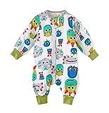 Visyaa Saco de dormir para bebé con mangas extraíbles, gasa de algodón, pijama con piernas, para primavera y verano (Mangas desmontables) Dinosaurio 100 cm