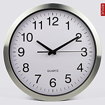 PQPQPQPQ Large Metal Numeral Wall Clock Silent Non-ticking Decorative Wall Clock for Hotel Bar