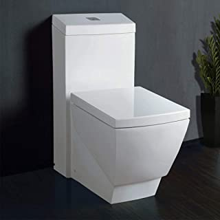 WoodBridge T-0020 Dual Flush Elongated One Piece Toilet with Soft Closing Seat, Deluxe Square Design