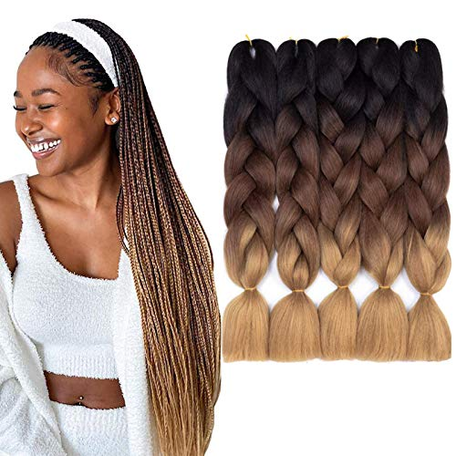 Kanekalon Jumbo Braiding Hair Extensions Afro Twis Yaki Style Ombre Braids Hair Box Crochet Hair Synthetic Braid Hair 100g/pcs (24inch 5pcs/lot, Black-Dark Brown-Light Brown) …