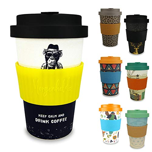 Morgenheld Dein trendiger Bambusbecher | Coffee-to-Go-Becher | Kaffeebecher mit Schraubdeckel und Banderole in coolem Design, 400ml - Monkey Citron