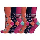 Damen Bio-Baumwolle Eazy Grip Gentle Cuff Diabetiker-Socken 37-42 UK – 6 Paar