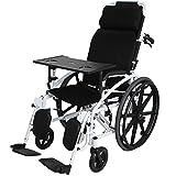 WZC Sillas de ruedas Silla de ruedas Multifunción Transporte reclinable Plegable Silla portátil de viaje Transporte Ancianos discapacitados Empujar a mano Cinturón Orinal