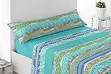 Energy Colors Textil - hogar - Seattle - Juego Sábanas Estampada Verano Microfibra 3 Piezas (Turquesa Viles, 150_x_200_cm)