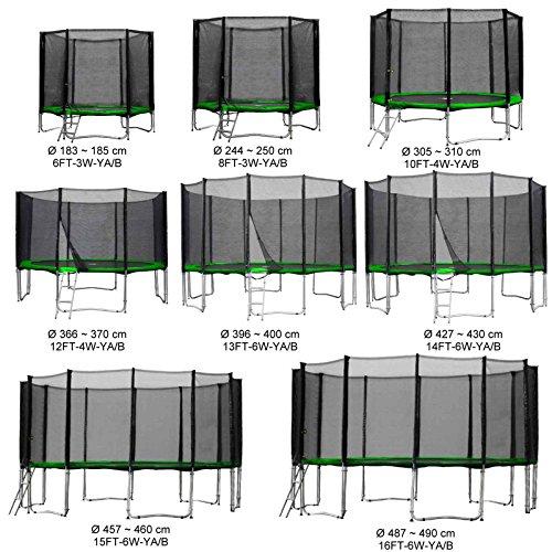 Baunsal GmbH & Co.KG Gartentrampolin Kindertrampolin Trampolin 396 bis 400 cm hellgrün komplettes Set mit Sicherheitsnetz und Einstiegsleiter …