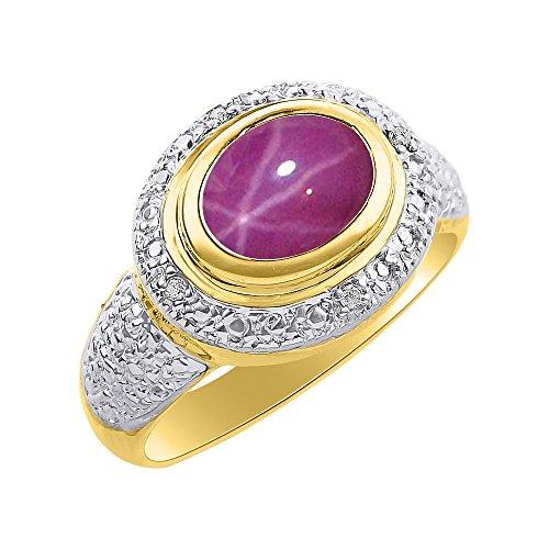 Diamond & Star - Anillo de oro amarillo de 14 quilates, diseño de halo de diamante, piedra de nacimiento de color