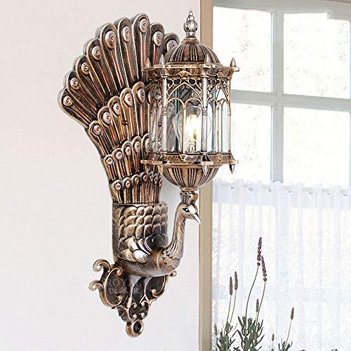 CSSYKV Luz de Pared China Luz de Pared de Pavo Real para Interiores y Exteriores Arte Creativo Instalación de iluminación de Pared E27 Utilizado para TV Fondo de Pared Balcón Luces de Pared de Noche