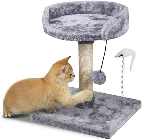 Kattträd katt klättringstorn kattträd aktivitetscenter med klösstolpe och Ladde vadderade plyschsittpinnar och lägenheter för kattungar stora katter