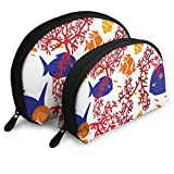 Portable Shell Makeup Storage Bags Cute Coral Fishes Art Travel Waterproof Toiletry Organizer Clutch Pouch for Women