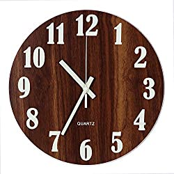 Tiords Decorative Home Silent Non-Ticking Glow in The Dark Round Wooden Wall Clock, 12 inch Arabic Numeral Battery Operated (Glow in The Dark)