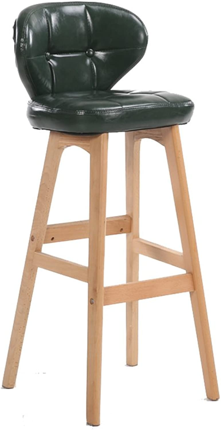 Wooden Bar Chair Breakfast Bar Stool Kitchen Counter High Chair Green with Back (Size   85cm)