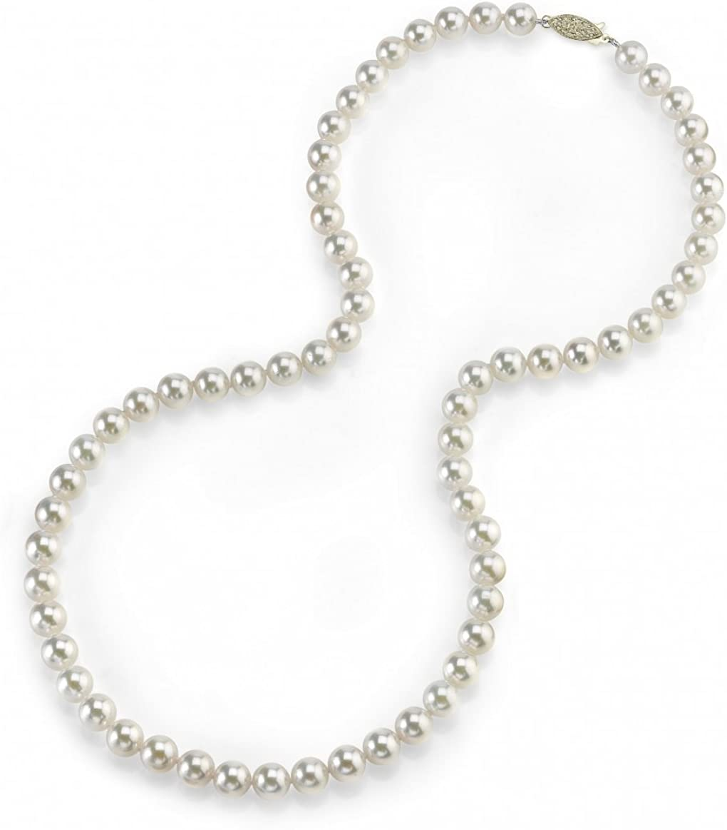 THE PEARL SOURCE 14K Gold 5.0-5.5mm Round Genuine White Japanese Akoya Saltwater Cultured Pearl Necklace in 24