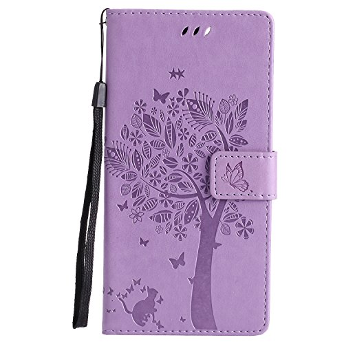Snow Color Leather Wallet Case for Google Nexus 6P Premium PU Leather Folio Flip Cover with Kickstand and Credit Slots for Huawei/Google Nexus 6P - COKT011274 Lilac