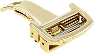 16MM DEPLOYMENT BUCKLE CLASP FIT CARTIER CALIBRE WATCH LEATHER STRAP BAND GOLD