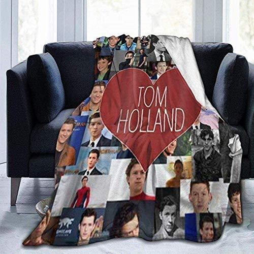 LLMMM Manta de forro polar ultrasuave Ian Joseph Somerhalder elegante dormitorio salón sofá manta cálida 50 x 40 para niños -Tom Holand_150 x 150 cm para jóvenes