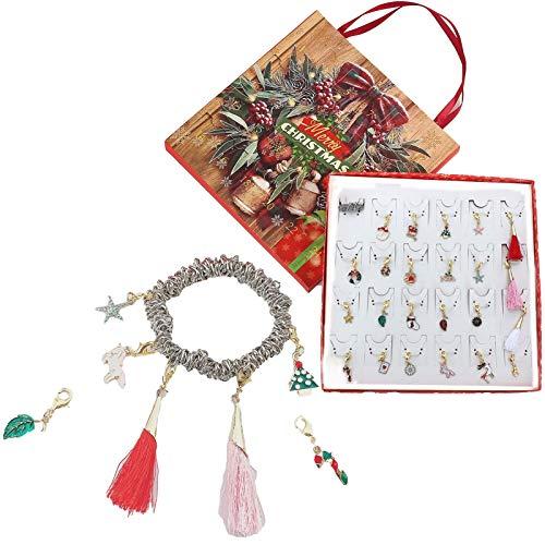 huaqiang194 Juego de 24 colgantes para collar y pulsera de Navidad, calendario de Adviento misterioso, caja de regalo de 24 días de cuenta atrás con colgantes para niñas
