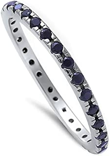 Black Onyx Eternity Band .925 Sterling Silver Ring Sizes 3-11