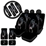 WELLFLYHOM Black Horse Car Seat Covers Universal Full Set with Stretchy Steering Wheel Cover/Floor Mats Set of 4/ Seat Belt Cover, Solid Color Animal Print Car Interior Accessories Set for Men Women