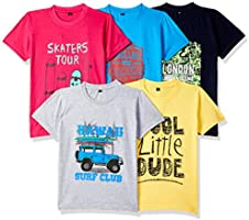 ESNINO Boys' T-Shirt (Pack of 5)