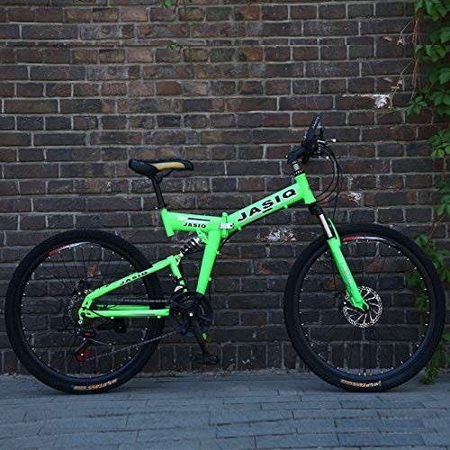 Pliuyb 26 inch Mountain Bike 21 Speed Folding Mountain Bicycle Double disc Brake Bike New Folding Mountain Bike Suitable for Adults (Color : F Green, Size : 26inch)