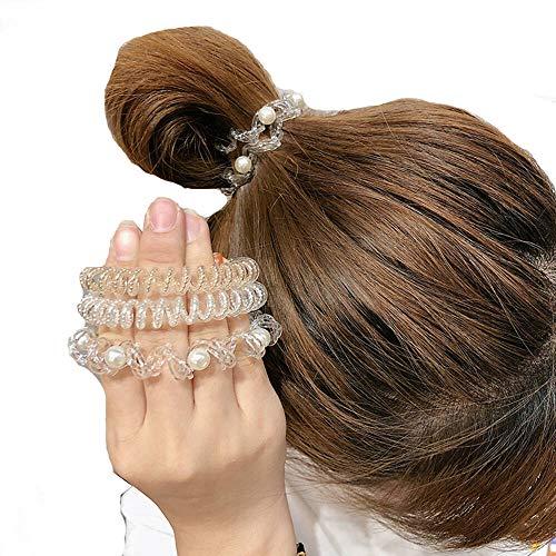 Uni-Fine 3 Stück Spiral Haargummis Telefonkabel Haargummi Original Haargummi Transparent Spiralhaargummis mit Perlen für Damen und Mädchen