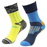 RANDY SUN Unisex Sport-Socken, 100prozent wasserdicht, atmungsaktiv, SGS Zertifiziert, für Sport, Klettern, Skifahren, Trekking, Wandern, Herren, 02 Pairs-1blueundYellow, Large