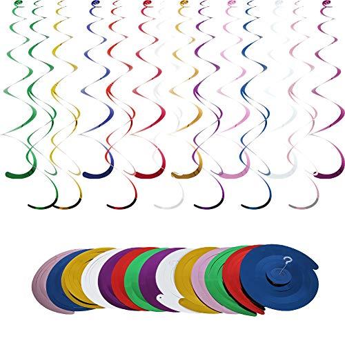 Decoraciones colgantes para fiestas de remolino, 14 piezas de espirales de papel de aluminio para decoración de techo para cumpleaños, boda, fiesta, Navidad, bebé, niños, niñas y adultos