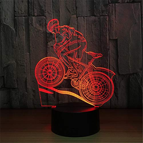 LBJZD Night Light Riding Mountain Bike 3D Night Light 3D Illusion Lamp 7 Color Changing Led Night Light USB Table Lamp As Home Decoration Light Without Remote Control