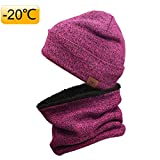 OZERO Thermo Hut Schal Set,Gestrickte Warme Set im Winter,Herren und Damen,1 Set