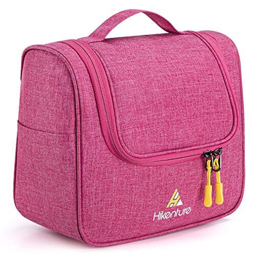 Kulturtasche zum Aufhängen von Hikenture, Kulturbeutel Frauen und Männer, Waschbeutel Waschtasche Damen mit Haken, Kosmetiktasche Toilettentasche für Camping, Reisen, Handgepäck (Pink)