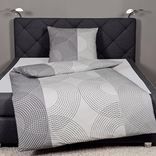 Janine Design Seersucker Bettwäsche Tango 2411-08 Silber 1 Bettbezug 135 x 200 cm + 1 Kissenbezug 80 x 80 cm
