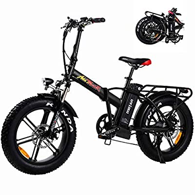 """Addmotor Motan 750W Electric Bike, Folding Electric Commuter Bicycle, 48V 11.6AH Battery 20"""" 4 Fat Tire Sport Snow Beach M-150 R7 E-Bike, LCD Display, 7 Speed Gears, Front Suspension Fork (Blacklemon)"""